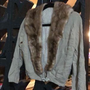 Sweaters - Vintage fur trimmed cardigan